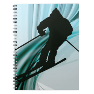 Downhill Skier on Icy Ribbons Spiral Notebook
