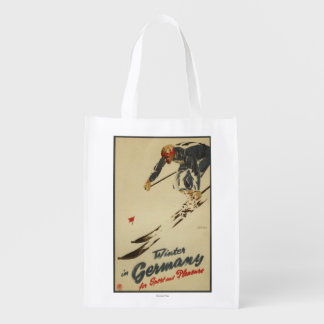 Downhill Skier - Sport and Pleasure Promo Grocery Bag