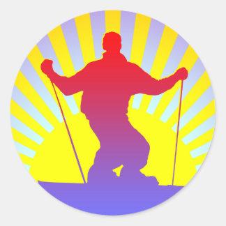 downhill skier round sticker