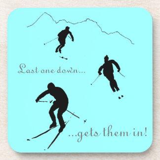 Downhill Skiers drinks mat Drink Coaster