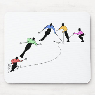 DOWNHILL SKIERS SNOW SPORT MOUSE PAD