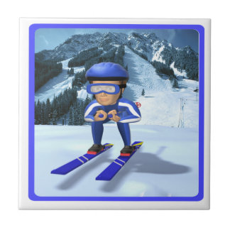 Downhill Skiing 2 Ceramic Tile
