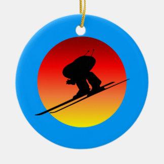downhill skiing ceramic ornament
