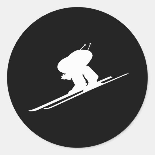 Downhill skiing classic round sticker
