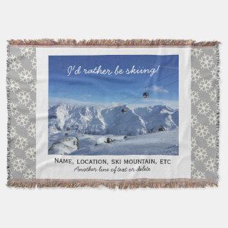 Downhill Skiing Custom Ski Photo Snowflake Cozy Throw Blanket