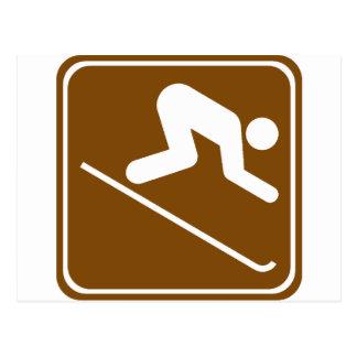 Downhill Skiing Facilities Highway Sign Postcard