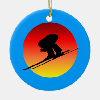 downhill skiing Double-Sided ceramic round christmas ornament
