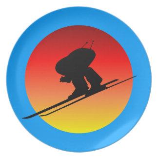 downhill skiing dinner plate
