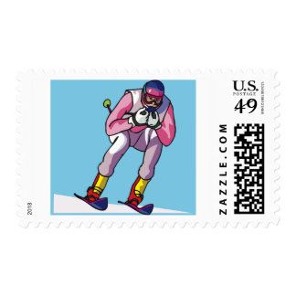 Downhill Skiing Postage
