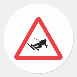 downhill skiing ski warning sign classic round sticker