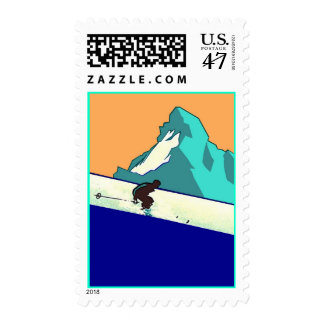 Downhill Skiing Trip Weekend Away Vacation Stamps
