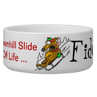 Downhill Slide Of Life Customized Dog Bowls