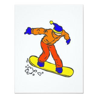"""Downhill Snowboarder 4.25"""" X 5.5"""" Invitation Card"""
