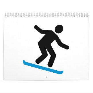 Downhill snowboarding wall calendars