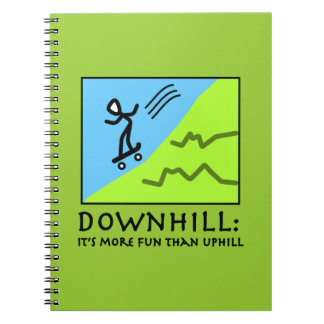 Downhill Thrill - Skateboarding Spiral Note Books