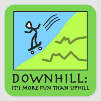 Downhill Thrill - Skateboarding Square Stickers