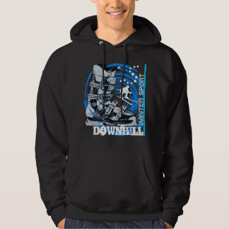 Downhill Winter Sport Ski Boot Sweatshirt Blue