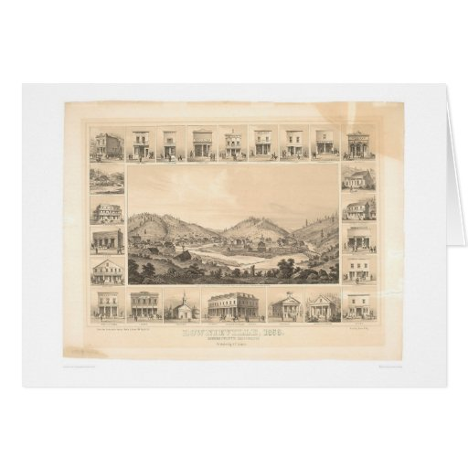 Downieville, CA Panoramic Map 1856 (0522A) Cards