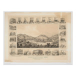 Downieville, CA Panoramic Map 1856 (0522A) Poster