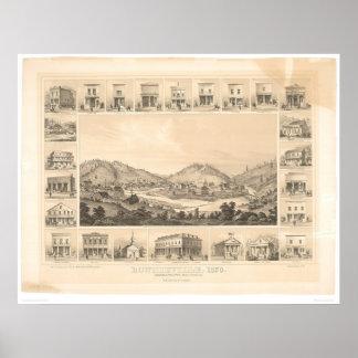 Downieville, mapa panorámico 1856 (0522A) de CA Póster
