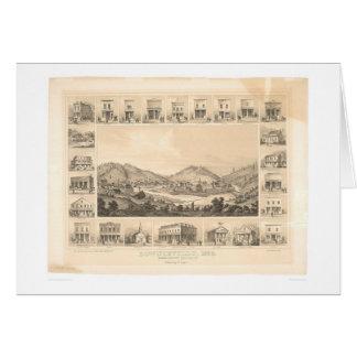 Downieville, mapa panorámico 1856 (0522A) de CA Tarjeta De Felicitación