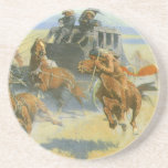 Downing the Nigh Leader, Remington, Vintage Cowboy Drink Coaster