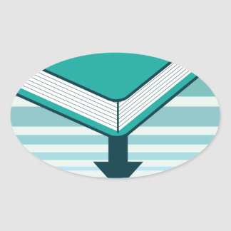 Download Ebook Button with Book Icon Oval Sticker