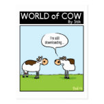 Downloading Cow Postcard