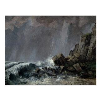 Downpour at Etretat Postcard