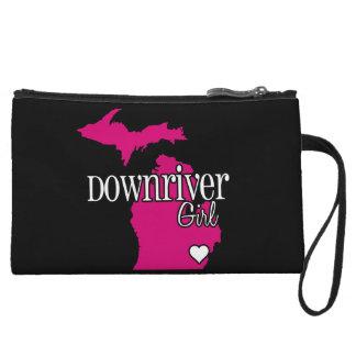 Downriver Detroit Girl Black and Pink Clutch