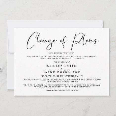 Downsized Wedding Change of Plans Elegant Announcement