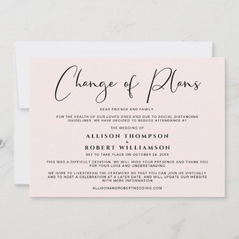 Downsized Wedding Change of Plans Elegant Pink Announcement