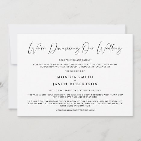 Downsizing Our Wedding Elegant Calligraphy Announcement