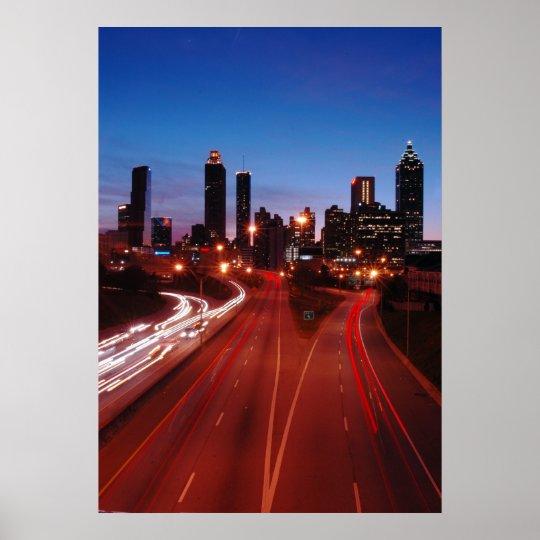 Downtown Atlanta at night Poster