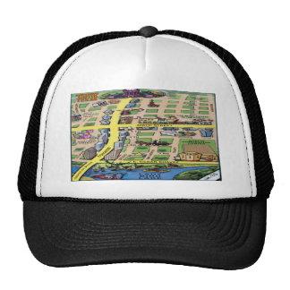 Downtown Austin Texas Cartoon Map Trucker Hat