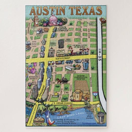 Downtown Austin Texas Fun Map Jigsaw Puzzle Zazzle Com