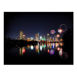 Downtown Austin Texas Night Skyline Fireworks Postcard