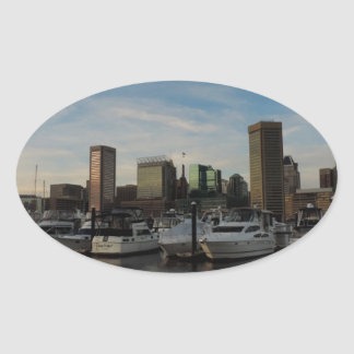 Downtown Baltimore at Sunset Oval Sticker