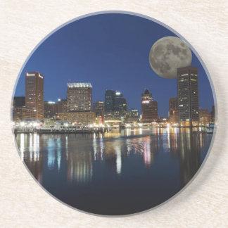 Downtown Baltimore Maryland Dusk Skyline Moon Coaster