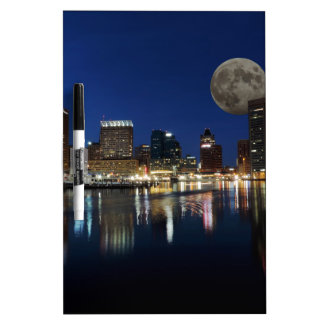Downtown Baltimore Maryland Dusk Skyline Moon Dry-Erase Board