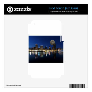 Downtown Baltimore Maryland Dusk Skyline Moon iPod Touch 4G Decals