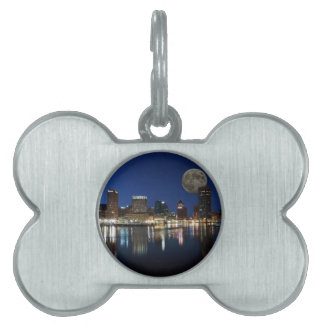 Downtown Baltimore Maryland Dusk Skyline Moon Pet ID Tag
