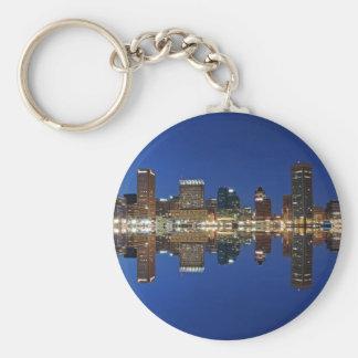 Downtown Baltimore Maryland Dusk Skyline Reflectio Basic Round Button Keychain