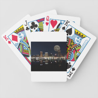 Downtown Baltimore Maryland Night Skyline Moon Bicycle Playing Cards
