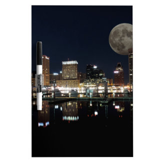 Downtown Baltimore Maryland Night Skyline Moon Dry Erase Board