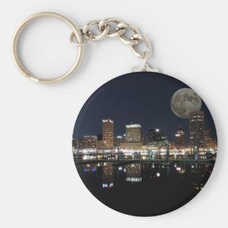 Downtown Baltimore Maryland Night Skyline Moon Keychain