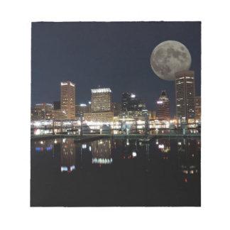 Downtown Baltimore Maryland Night Skyline Moon Notepad