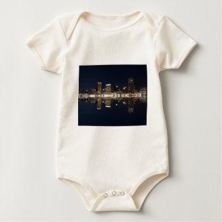 Downtown Baltimore Maryland Night Skyline Reflecti Bodysuit