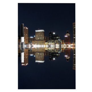 Downtown Baltimore Maryland Night Skyline Reflecti Dry-Erase Board