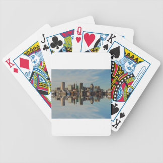 Downtown Baltimore Maryland Skyline Reflection Bicycle Playing Cards